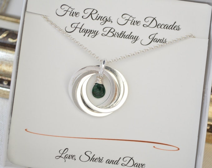 Emerald birthstone necklace, May birthstone necklace, 50th Birthday gift for wife, 5th Anniversary gift for her, 5 interlocked  rings