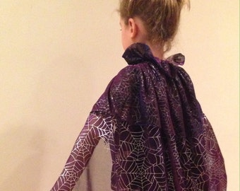 Reversible Halloween Witch Costume Magic Loop Dress Up Cape Cloak in Shimmery Sheer Purple Cosmic Silver Foil Spider Webs