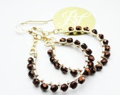Gold Hoop Beaded Earrings Bohemian Wire Wrapped with Dark Brown Bronze Beads Chandelier Boho Jewelry Wire Wrapped 14k Gold Filled