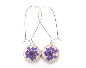 purple earrings, flower lover jewelry everyday earrings in violet purple, real flower earrings, real flower jewelry, botanical earrings,