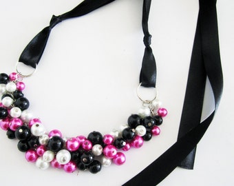 Bridesmaid Necklace in Hot Pink, Black and White Pearls with Black Ribbon - Bib Necklace, Pearl Necklace, Black Ribbon Necklace, Cerise