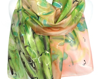 Hand Paint Scarf. Green Silk Scarf. Silk Painting. Woman Birthday Gift. Art to wear Unique Gift. Foulard. Green Shawl. 14x71in. Ready2Ship
