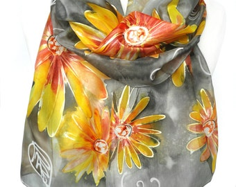 Hand Painted Silk Scarf. Floral Scarf. Gift for Her. Art on Silk. Silk Shawl. Birthday Gift. Woman Scarf. Foulard Soie. 14x71in. Ready2Ship