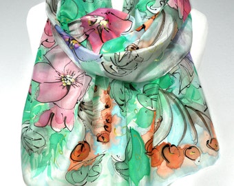 Hand Painted Silk Scarf. Silk Art. Woman Birthday Gift for Her. Green Silk Scarf. Floral Shawl. Unique Handmade Scarf. 18x71in. Ready2Ship