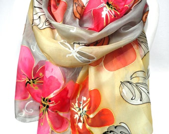 Hand Paint Silk Scarf. Silk Painting. Silk Shawl. Art on Silk. Gift for Her. Foulard Mom Birthday. Bridesmaids Gift. 18x71in. Ready2Ship