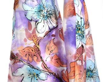 Hand Painted Silk Scarf Silk Painting Wedding Bridal Shawl Scarf Birthday Gift for Her Woman Large Scarf Anniversary Gift 71x35in Ready2Ship