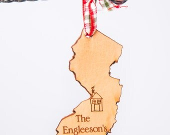 New Jersey State Ornament New Jersey Ornament Garden State Ornament State Shape Ornament Leather Ornament