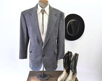 Vintage PENDLETON Western Wool Tweed Mens Suit Jacket 100% Pure Virgin Wool Blazer / Sport Coat with Gray Suede Detail - Size 46 Short (XL)