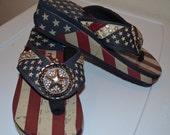 American vintage-look flip flops with wedge sole