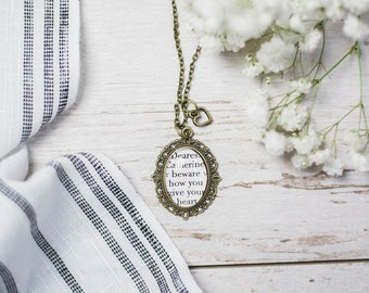 Jane Austen Northanger Abbey Antiqued Bronze Book Page Necklace Dearest Catherine beware how you give your heart