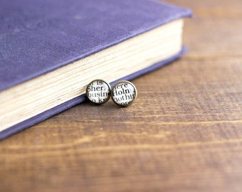 Sherlock Holmes Post Dangling Earrings Blue Cabuncle Antique Bronze Classic Literature Book Quote Jewelry Book Page Gift