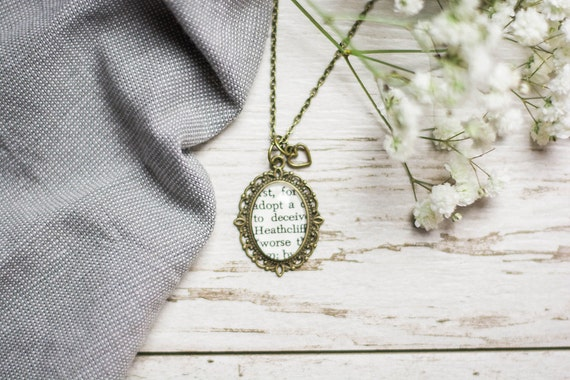 Heathcliff Emily Bronte Wuthering Heights Antiqued Bronze Book Page Literature Necklace