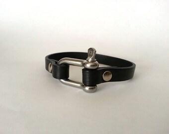 Nautical bracelet. mens  bracelet with steel shackle clasp, mens bracelet, mens jewelry,  bracelet for mens. Surfer bracelet, husband gift