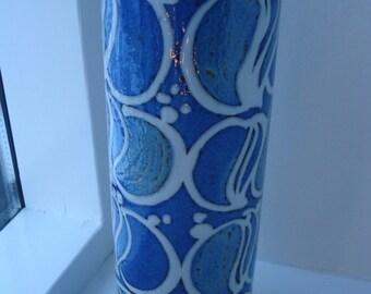 Royal Copenhagen vase, Ellen Malmer, blue and white Fajance Baca Aluminia