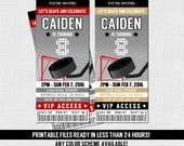 HOCKEY TICKET INVITATIONS Birthday Party - Any Color, Any Age - (print your own) Personalized Printable Files