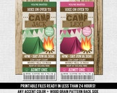 CAMP TICKET INVITATIONS Birthday Party - Any Accent Color, Any Age - (print your own) Personalized Printable Files Camping Camp Out