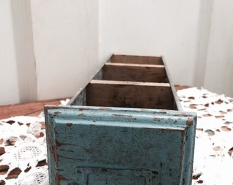 RESERVED Blue Wood and Metal File drawer