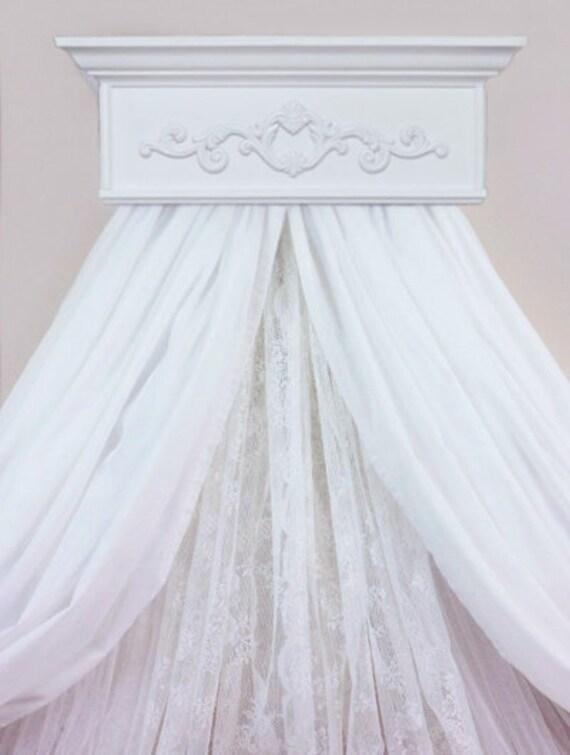 Bed crown crib canopy teester nursery bedroom decor for Nursery crown canopy