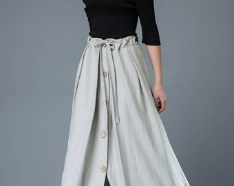 Maxi Skirt - Light Gray Linen Buttoned Long Pleated Casual Woman's Spring Summer Skirt with Drawstring Waist C824