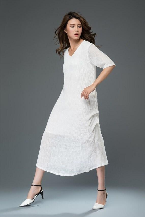 Maxi dress linen dress white dress C908