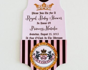 Juicy Couture Baby Shower Invitation -You Print- Juicy Couture Invite | Juicy Couture Party | Juicy Couture Baby Shower | Diaper Invite
