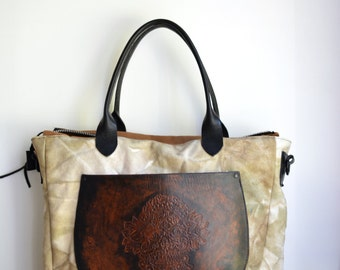 Diaper bag gym bag hand dyed hand waxed  THE WANDERLUST