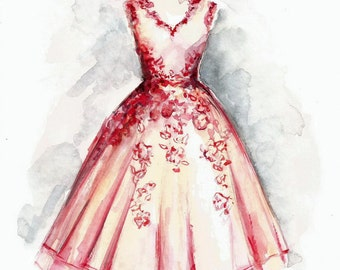 Original Watercolor Fashion Illustration Painting Sketch Vintage Prom Evening Dress Girl Woman Decor for Her Wall Art