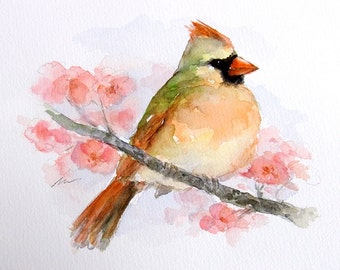 ORIGINAL Watercolors Bird Female Cardinal Art Illustration Animal Nursery Hand Painted 6x8