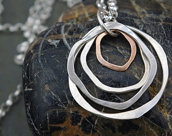 Hammered Circle Necklace, Silver Circle Jewelry, Circle Pendant, Statement Necklace, Long Pendant Necklace,Silver and Bronze Necklace