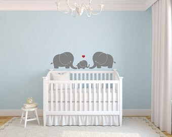 Little Elephant Family with Heart Love for Nursery Vinyl Wall Decal Sticker Art
