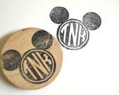 Mickey Monogram Rubber Stamp, Customized handmade
