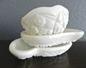Milk Glass Bowls. Shabby Chic Cottage Home Decor. Soap Dish.