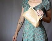 Beige clutch,  leather clutch, Kiss Lock Clutch, Evening Clutch, Retro Style Clutch, frame clutch purse bag, Nude clutch,  rustic