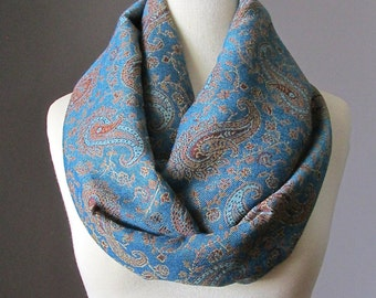 Azure Blue Scarf , pashmina , delicate paisley  scarf, gift for her, Christmas gift