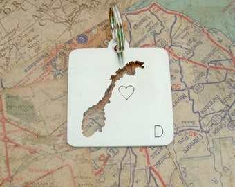Norway Country Keychain Square - cut out style - choose your country -Handmade Key Chain