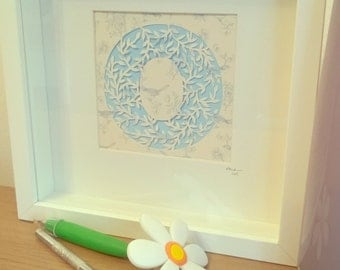 Letter Papercut with Leaf design