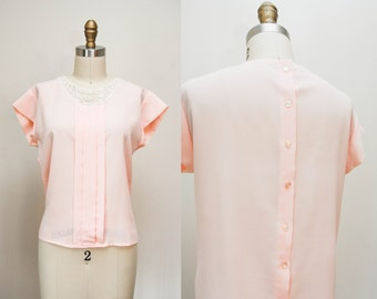 Vintage Pale Pink Silky Buttoned Back Blouse / Cap Sleeves Top / Lace Collar