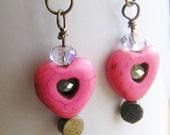 Pink Howlite Heart, Pyrite, and Crystal Dangle Earrings