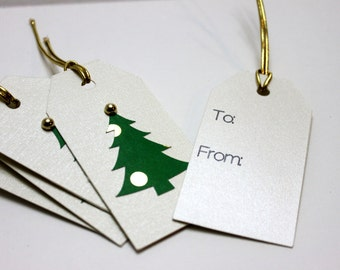 Green/Gold Foil Christmas Tree  Large Gift Tags Set of 6