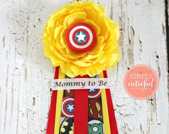 Superhero Mom Baby Shower Corsage with Super Mommy to Be Grandma to Be and Custom Pins Badge Brooch Capia Baby Shower Hero Corsage
