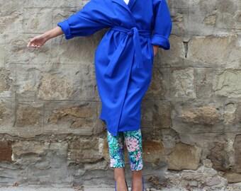 Blue Coat/ Cashmere coat/ Womens Trench Coat/ Oversized Coat/ Belted Wool coat/ Plus size clothing/ Maxi Coat