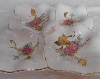 Ceramic Jewelry Plate Dresser Vanity Valet Gold Leaf Roses