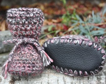 Black, Grey and Pink Baby Toddler Child Crochet SHEEPSKIN Booties and Crochet Sheepskin Slippers with Leather Sole and Sheepskin Shearling