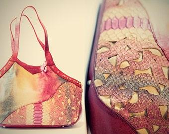 Bohemian Leather Purse - CIRQUE DU SOLEI - Brightly Colored Handbag - Gypsy Style - Red Pink Yellow Blue - Handmade Artisan