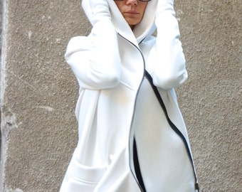 NEW Lined Warm Asymmetric Extravagant Off White Hooded Coat / Quilted Lined Cotton Jacket / Thumb Holes / Outside and Inside pockets A07177