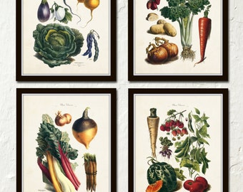French Vegetable Print Set, Canvas Art, Digital Illustrations, Botanical Prints, Art Print, Wall Art, French Style Decor, Prints and Posters