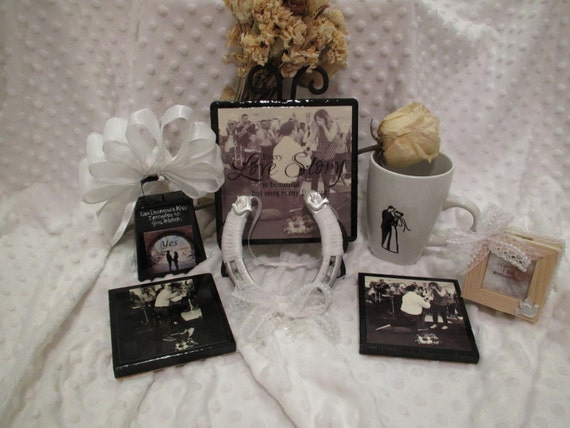 Wedding Gift Basket Items : Engagement Wedding Gift Basket Items Custom Plaque, 2 Coasters, Mug ...