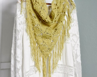 Organic Fringed Cowl, Boho Chic Fashion, Mustard Yellow Cotton - Linen Crochet Cowl,  Eco Friendly Infinity Scarf