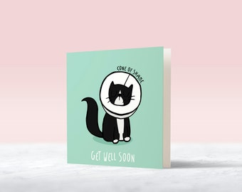Cat Cone Of Shame Mini Greetings Card | Get Well Soon: funny animal print card for poorly, sick, unwell & animal lover best friend