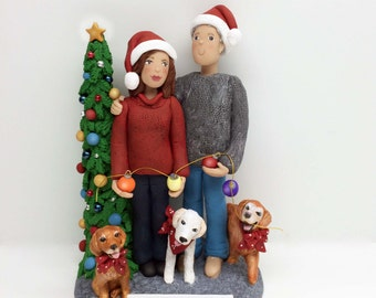 Custom Christmas Family with Pets Sculpture from your Ideas and Photos